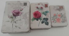 3 Pcs BEAUTIFUL NEW TIN BOX STORAGE CONTAINER FLAWER ROSE FREE SHIPPING