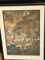 """CHINESE WATERCOLOR PRINT  32X24 """"Flight of The Cranes"""""""