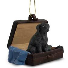 Flat Coated Retriever Traveling Companion Dog Figurine In Suit Case Ornament