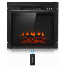 """18"""" Electric Fireplace Freestanding & Wall Mounted Heater Log Flame Remote 1400W"""