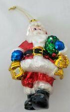 BK Hand Blown Glass Santa Claus Wreath Christmas Ornament Vintage 1999