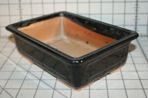 """Shohin Bonsai pot rectangle 5.5 x 7.8 x 2.5"""" black"""