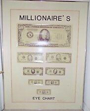 Rare Vintage Original Greg Copeland Millionaires Eye Chart Signed Optometrist