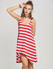 """CANDY"" WOMEN'S NEW SUMMER RED WHITE STRIPE SIZE 10 CASUAL DRESS ANGLE HEMLINE"