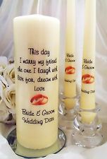 Personalised Unity Candle Set, This Day I Marry, Wedding Gift, Many Designs