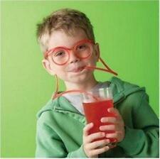 Novelty Flexible Drinking Eye Glasses Straw Drinking Tube Kids Games For Toys FI