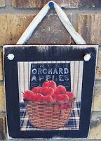 Apple Basket Hanging Wall Sign Plaque Primitive Rustic Farmhouse Decor