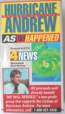 VHS Hurricane Andrew As It Happened 1992 Channel 4 News South Miami Florida
