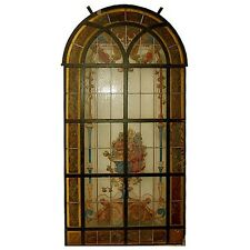 Hand-Painted & Leaded Antique Stained Glass Window #6582