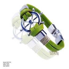 US Green Leather Cuff Stainless Steel Men Women Wristband Bracelets MK077GR