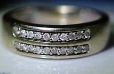 Vintage Handmade Two Row 20 Natural Diamonds 14K Yellow Gold Wedding Band Ring