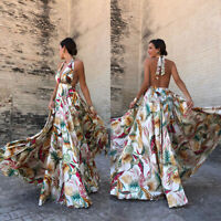 Womens Halter V Neck Floral Backless Party Evening Summer Prom Long Maxi Dress
