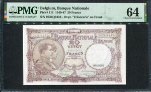 Belgium 1940-1947 ( 1944 ), 20 Francs, P111,PMG 64 UNC