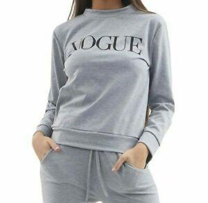 NEW Casual Two Piece Lounge Suit Grey 'Vogue' slogan print design - UK 8/10