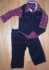 Baby Gap CHRISTMAS Outfit Velvet Pants & Vest + Plaid Shirt Black Boy's 18-24M