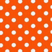Fabric Dots White on Halloween Orange Cotton by the 1/4 yard BIN
