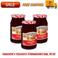 (3 Pack) Smucker's Seedless Strawberry Jam, 18 Oz, All Natural Ingredients
