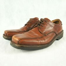 ECCO Men's Loafer Shoes Lace Up Bike Toe Boat Casual Leather Amber Brown Size 44