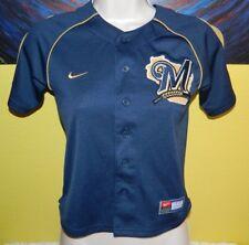 Youth Nike Team MLB Milwaukee Brewers Baseball Jersey Size 5 Navy