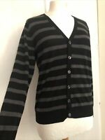 Uniqlo Small Grey Black Merino Wool Striped Long Sleeve Button Cardigan