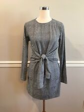 Boohoo Harper Knot Front Checkered Shift Dress Size 8 $36