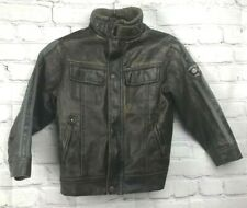 Vtg Style Faux Leather Boys Sz 6 Military Bomber Pilot Jacket Halloween Costume