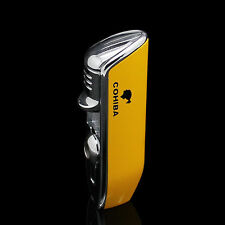 Yellow Chrome Cohiba 3Torch Jet Flame Cigar Cigarettes Lighter w/ Punch~ Butane