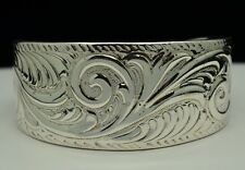 """STERLING SILVER CUFF BRACELET WITH ETCHED WESTERN DESIGN 6"""" #E927"""