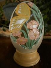 Joanne Hunot Enesco 1991 Egg Plastic Wood Base Collectible Easter Butterfly