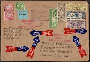 Air mail cover 1933 from San Diego to Hannover, Germany with Mi #306,302,321,323