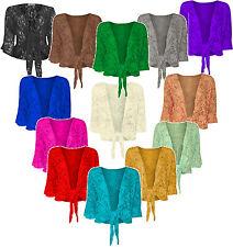 Women's Ladies Plus Size Floral Sparkly Sequin Lace Bolero Cropped Shrug Top8-26
