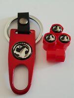 VAUXHALL Plastic Valve DUST CAPS Keyring Keychain Spanner all Models Red Corsa
