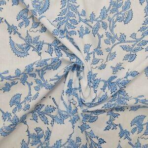 Hand Block Print White Blue Floral 100%Cotton Women Dress Material Craft Fabric