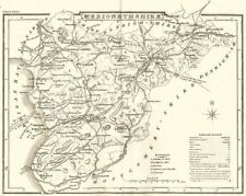 MERIONETHSHIRE. County map. Polling places. Coach roads. DUGDALE 1845 old