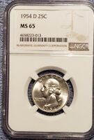 1954 D SILVER Washington Quarter NGC MS 65!!!