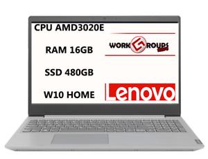 NOTEBOOK LENOVO AMD 3020E 16GB RAM 480GB SSD 15.6 WIN10 HOME PN:82C70097IX