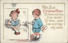 Christmas - Cute Kids Reading - Gift Exchange c1915 Whitney Postcard