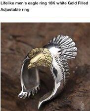 Harley Davidson Themed Eagle Ring 18K White & Yellow Gold tone Ring Sz 6-10