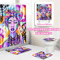 Stylish Printed Bathroom Shower Curtain Set Waterproof Mildew Toilet Lid Mat/