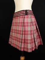 Burberry London Blue Label Red Pink Maroon Nova Check Pleated Skirt Size 38 S M