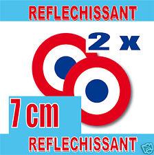 Lot 2 Cocardes Rétro-Réfléchissantes  70mm STICKER inch = 2.95 REFLECTIV