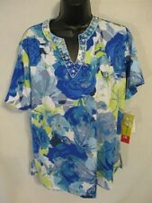 Cathy Daniels Casual Size S  Blue Floral Knit Top SR $44 NEW