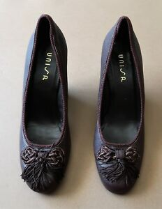 *Size 37 Unisa Tassel Decorated Brown Leather Women's Shoes