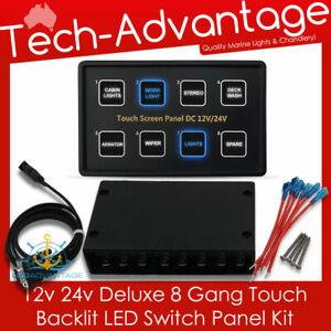 12v 24v 8 Gang LED Blue Backlit Touch Switch Panel Kit - Marine/Boat/Caravan/Car