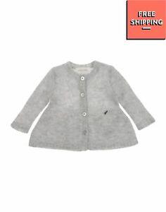 DIESEL Cardigan Size 3M Wool Blend Melange Effect Logo Detail Crew Neck