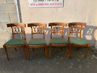 Set of 4 French Antique 19th Century Curved Back Bamboo Effect Dining Chairs