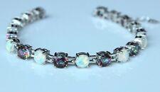 """925 Silver Fire Opal & Mystic Rainbow Fire Stone Tennis Bracelet 7.5"""""""