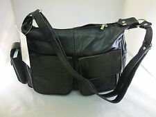New Women Leather Shoulder Handbag Crossbody Organizer Purse Lambskin Black