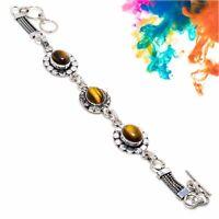 "Luster Tiger'S Eye Handmade Ethnic Style Jewelry Bracelet 7-8"" SZ-7147"