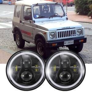 For Suzuki Samurai SJ410 Pair 7 inch LED Round Headlights DRL High Low Beam x2